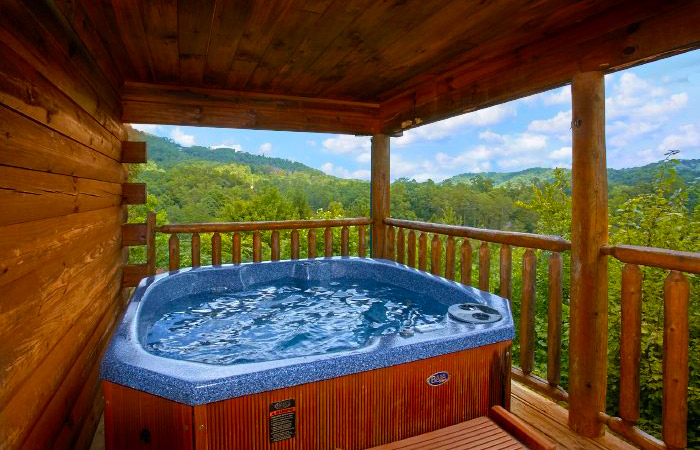 Hot Tub With A View at a Pigeon Forge Cabin