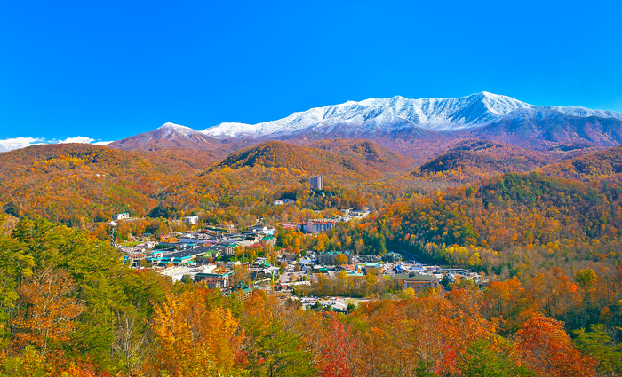 View of Mt. LeConte in Fall
