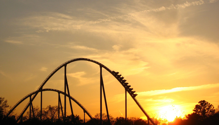 Roller Coaster in Sunset