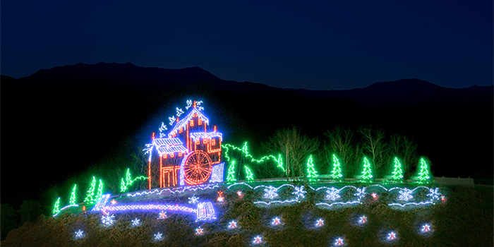 Winterfest Light Display of the Old Mill