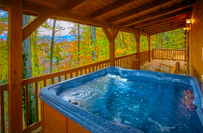 View From A Pigeon Forge Cabin With A Hot Tub