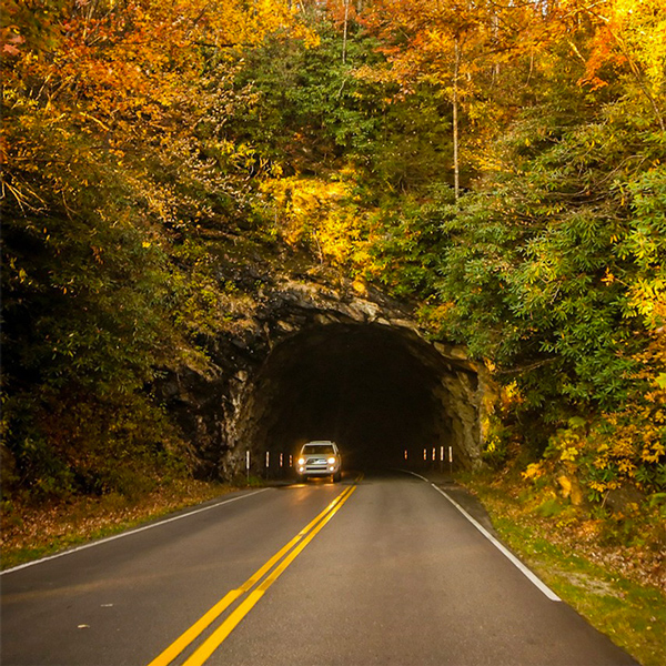 Beautiful Smoky Mountain Tunnel in Fall